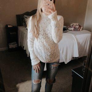 Loft Cream Mohair Turtleneck Sweater